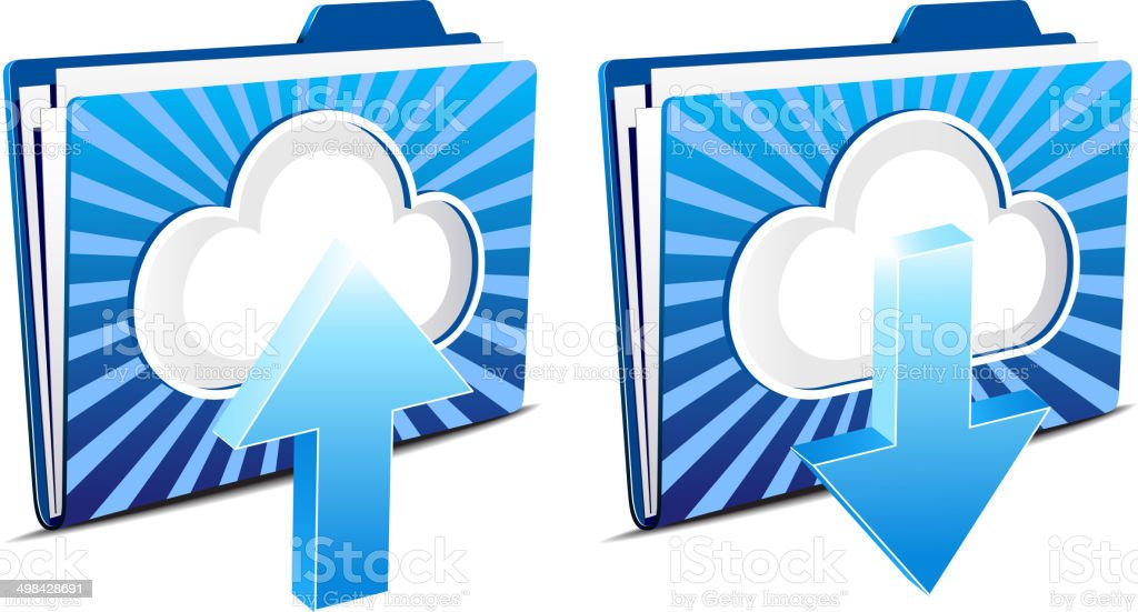 Cloud computing upload and download icons vector art illustration