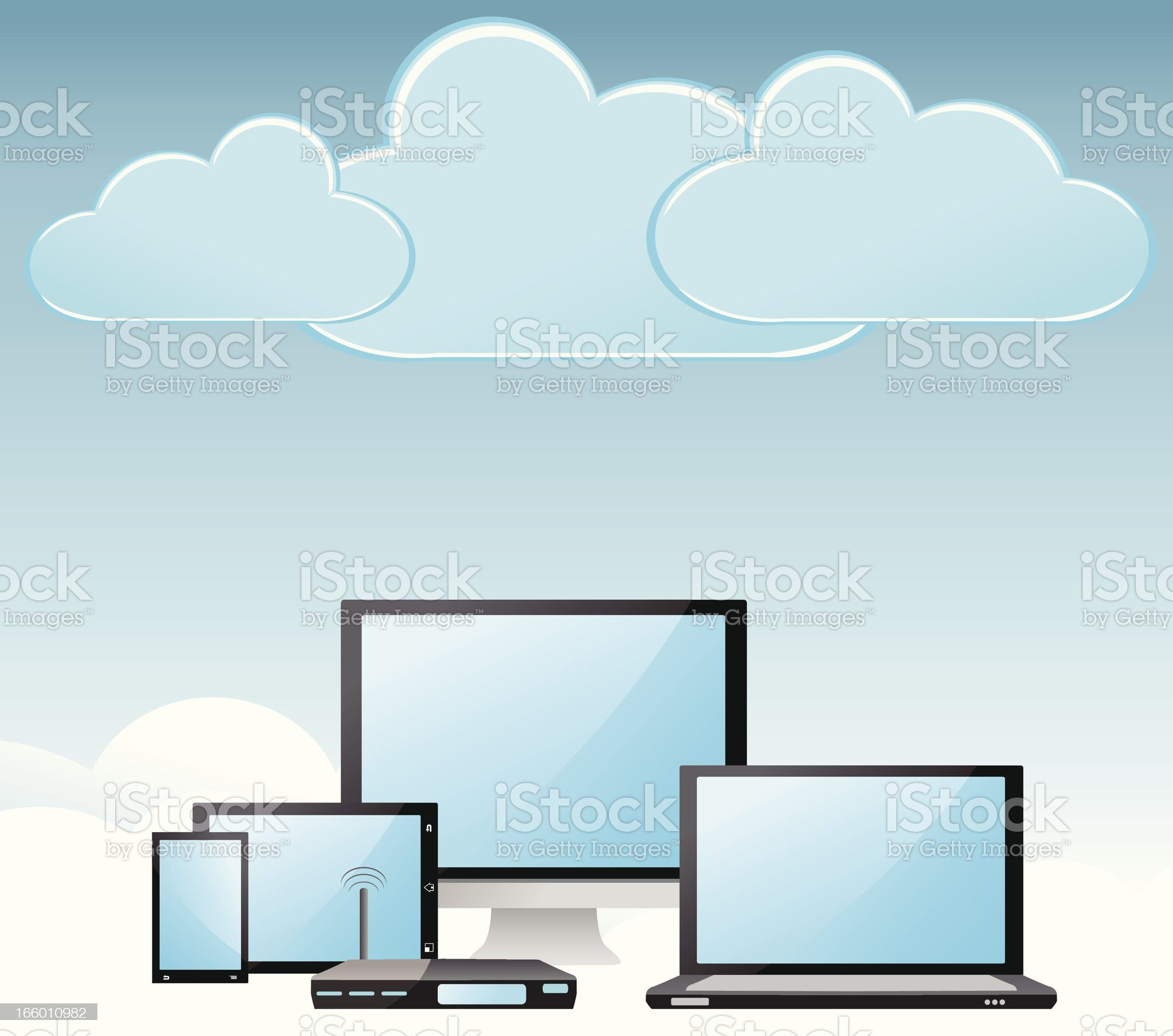 Cloud computing view royalty-free stock vector art