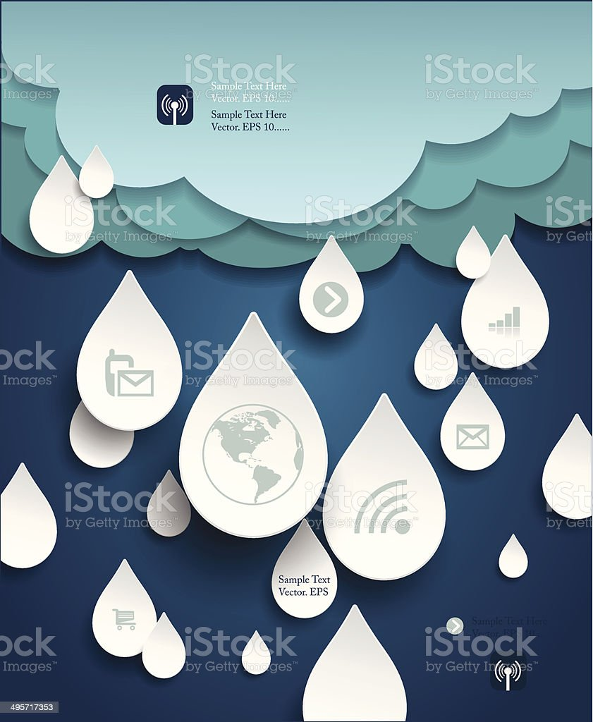 Cloud computing with icon in rain drops vector art illustration