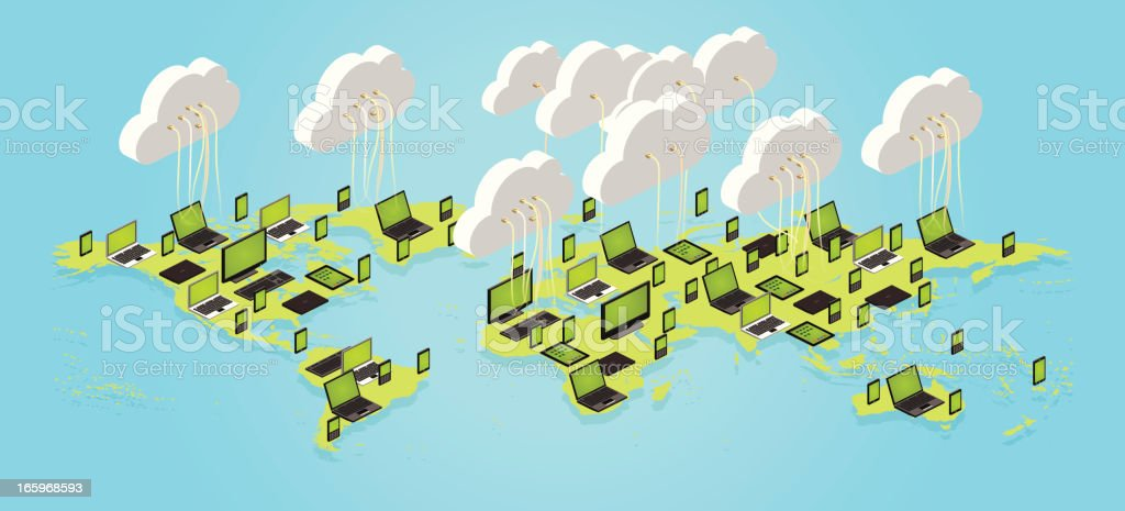 cloud computing worldwide royalty-free stock vector art