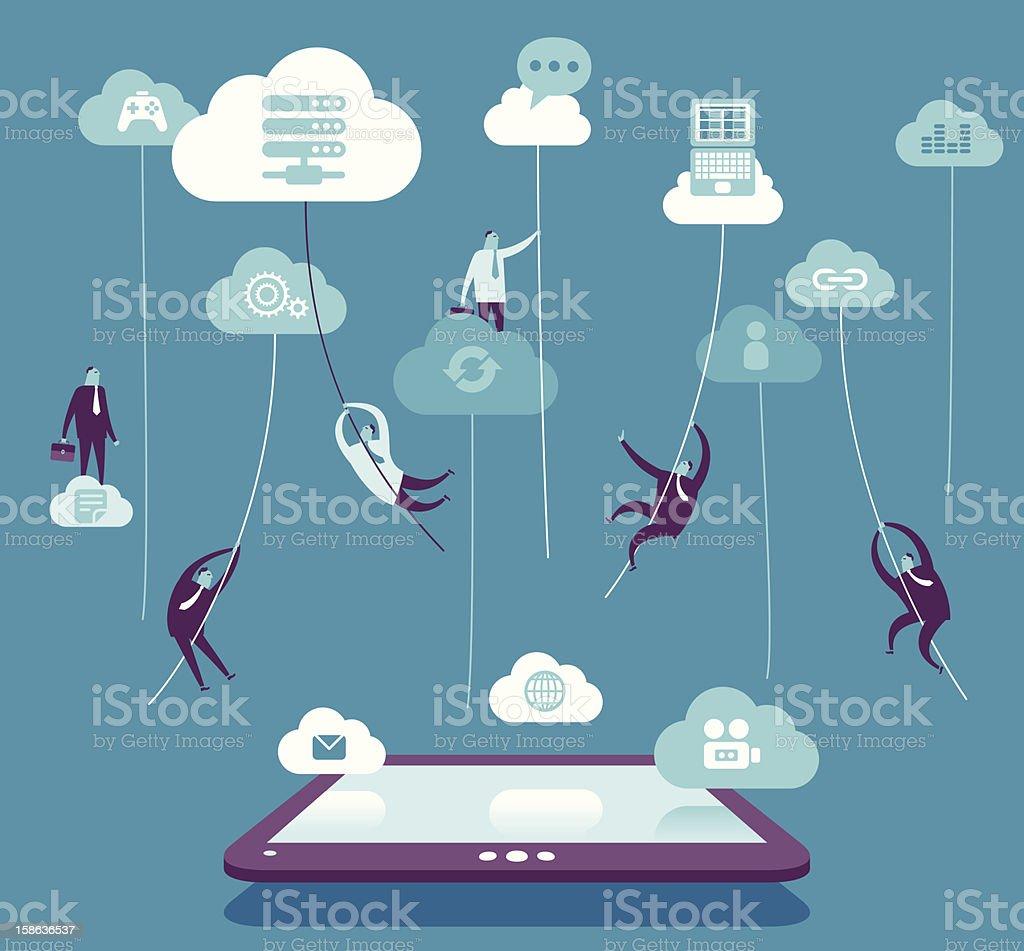 Cloud connection vector art illustration