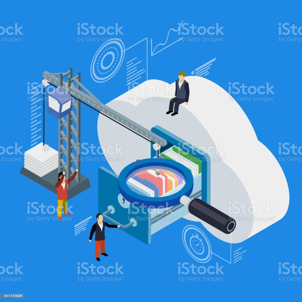 Cloud data storage flat 3d isometric vector art illustration