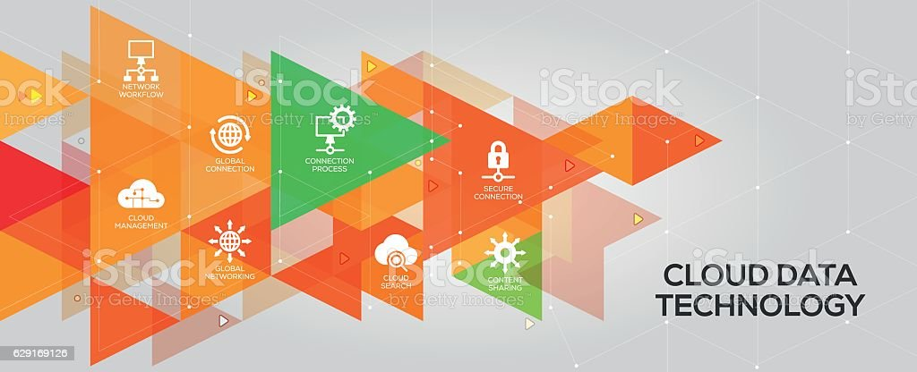 Cloud Data Technology banner and icons vector art illustration
