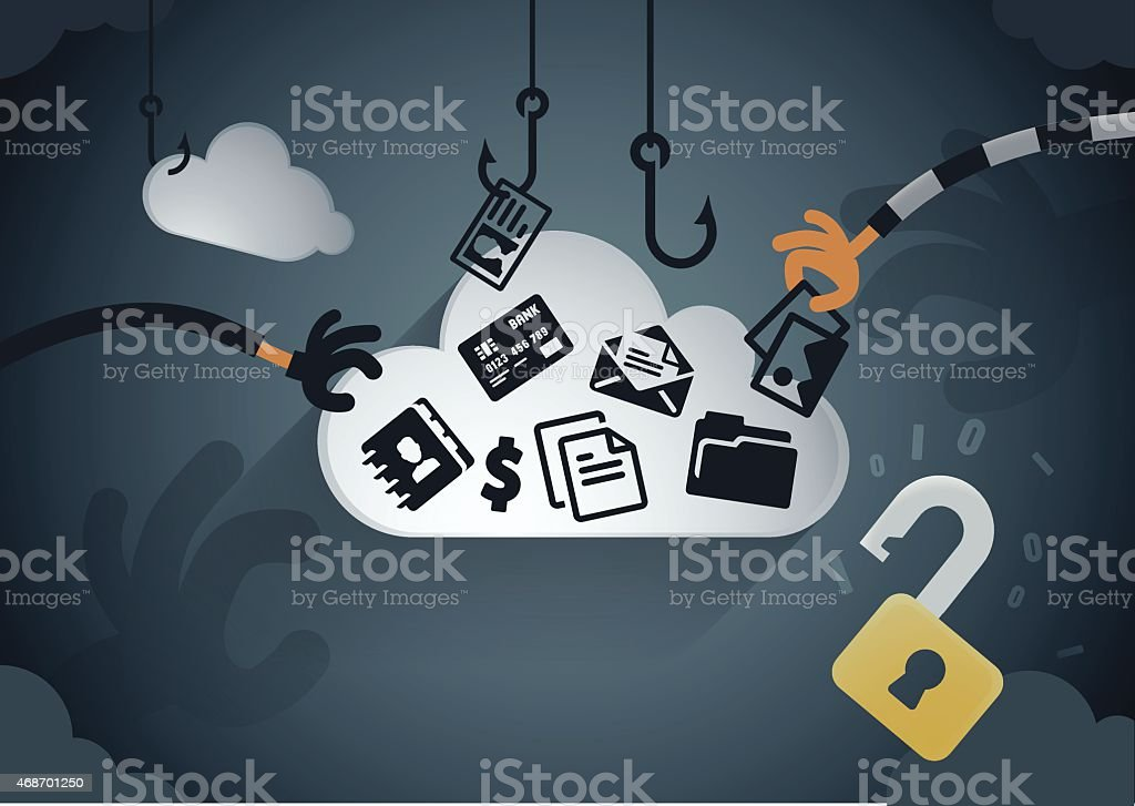 Cloud data theft vector art illustration
