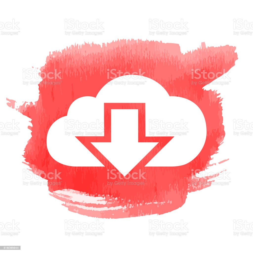 Cloud Downloads Icon with Watercolor Patch vector art illustration