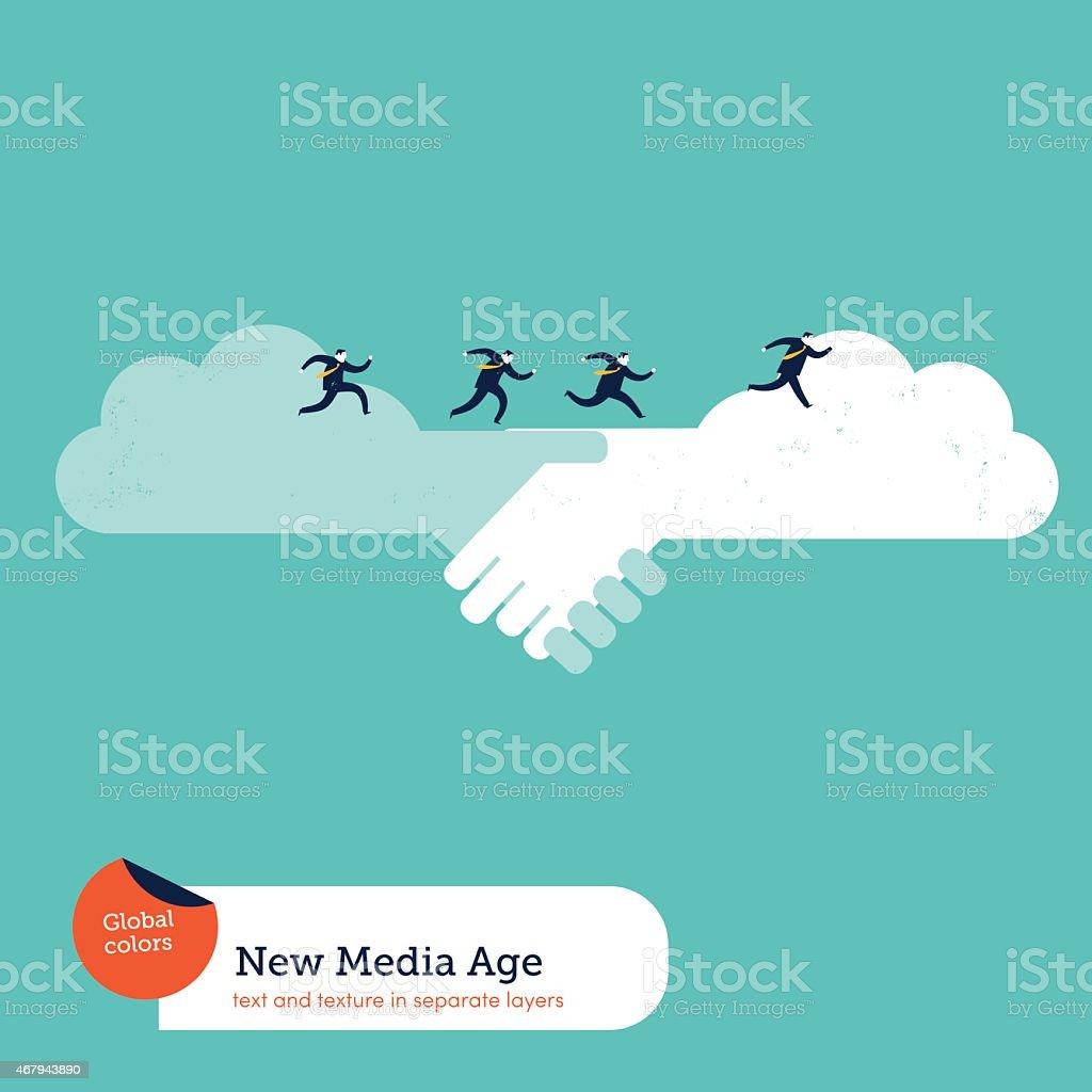Cloud handshake and businessmen running on it vector art illustration