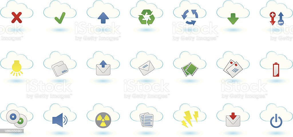Cloud icon set royalty-free stock vector art
