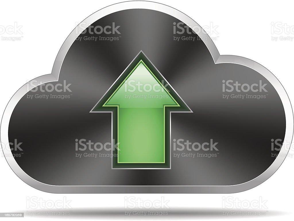 Cloud icon (shiny arrow up) royalty-free stock vector art