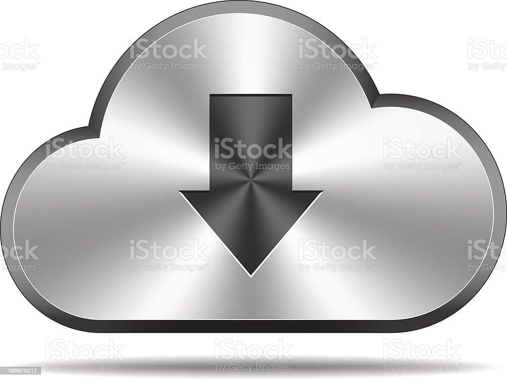 Cloud icon (arrow down) royalty-free stock vector art