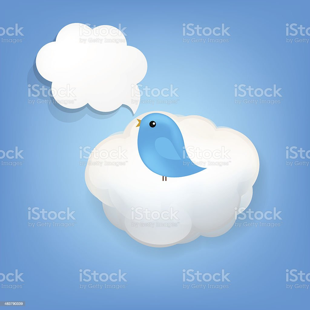Cloud Icon With Bird vector art illustration
