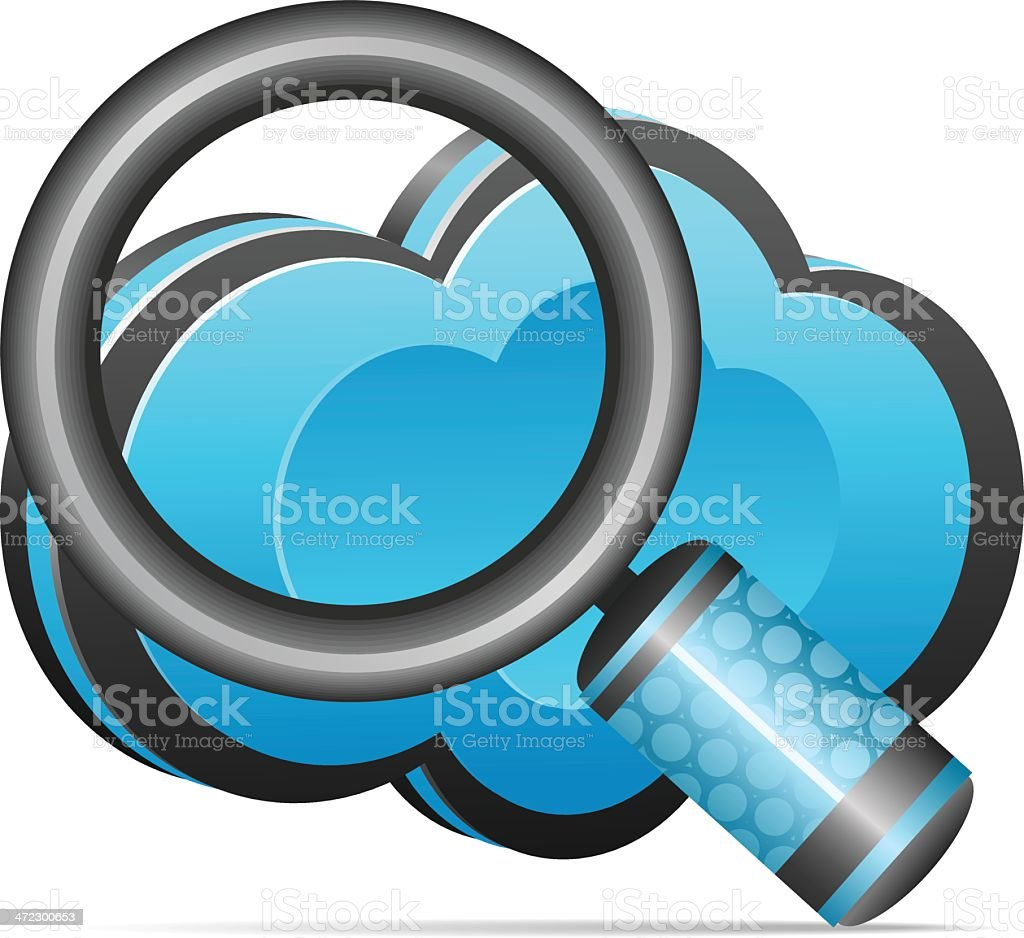 Cloud icon with Magnifying glass royalty-free stock vector art