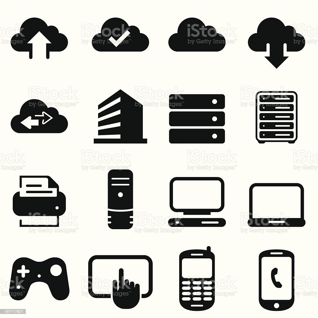 Cloud Icons - Black Series vector art illustration