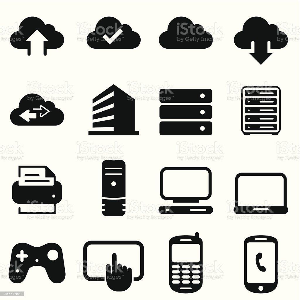 Cloud Icons - Black Series vector art illustration