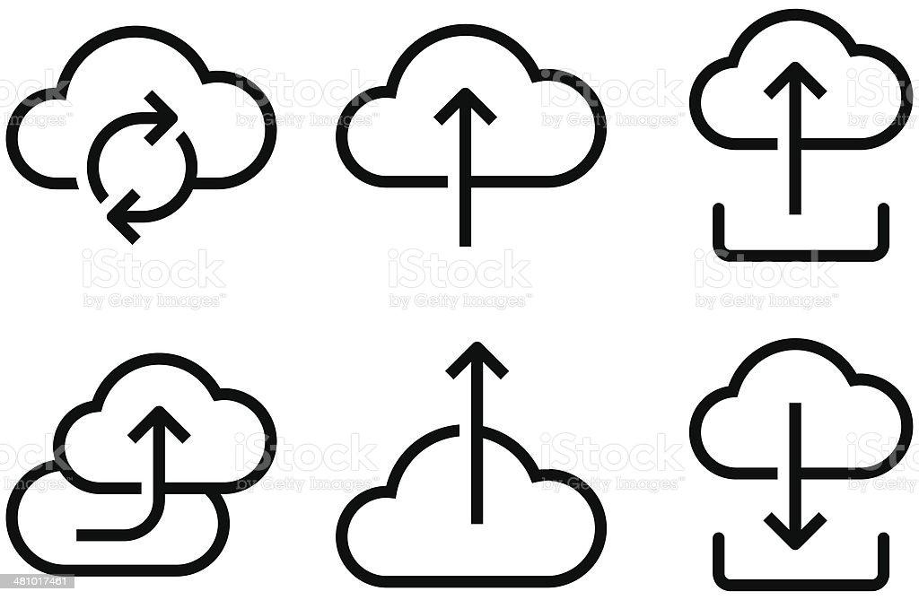 Cloud icons set vector art illustration