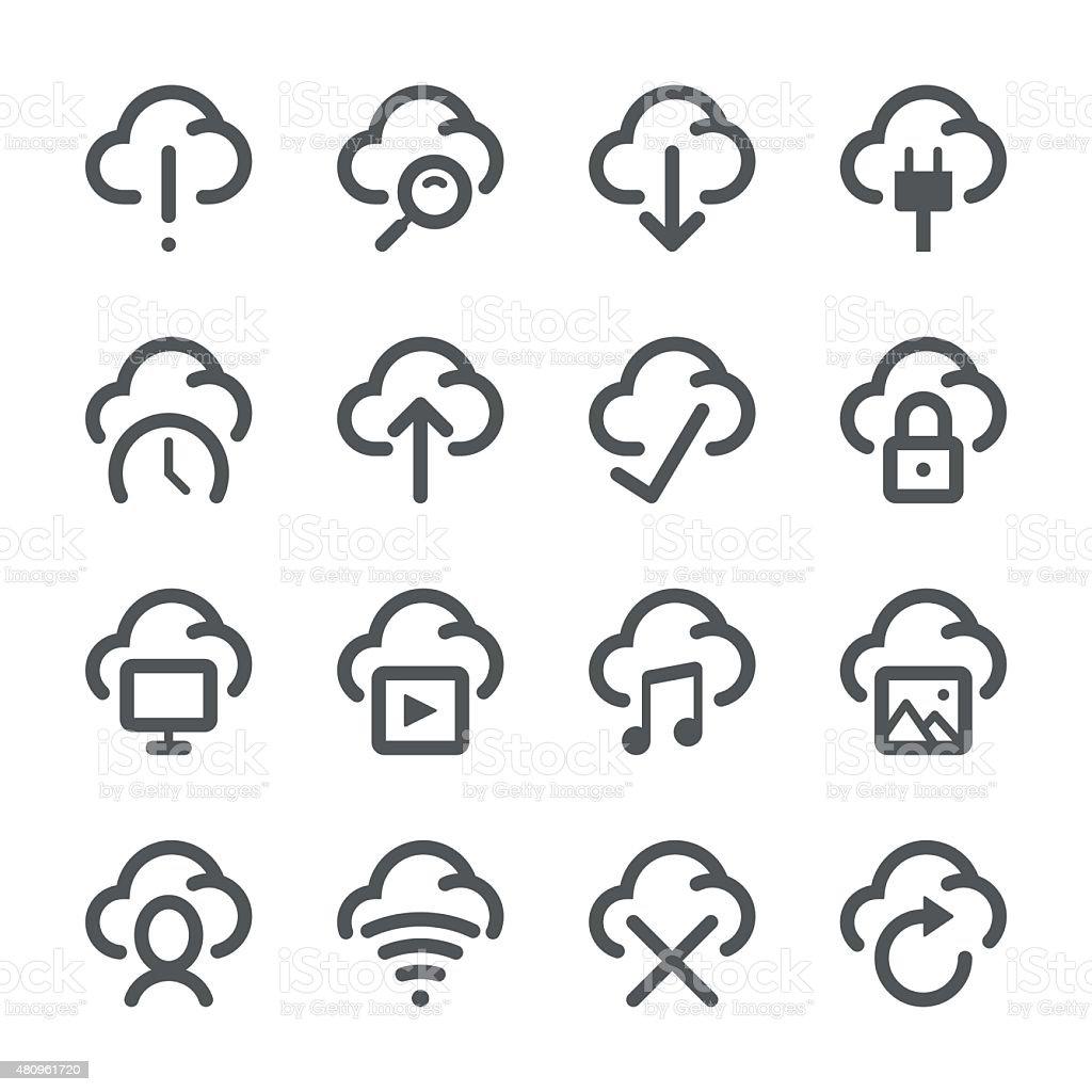 Cloud icons | Stroke Series vector art illustration