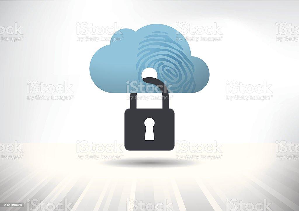 Cloud Identity Security Concept vector art illustration