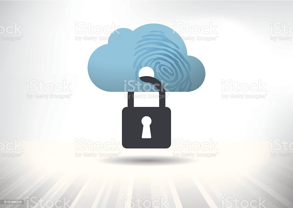 Cloud Identity Security Concept vector art illustration