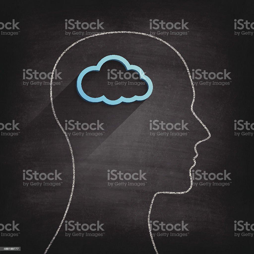 Cloud inside the head on Blackboard - Chalkboard vector art illustration