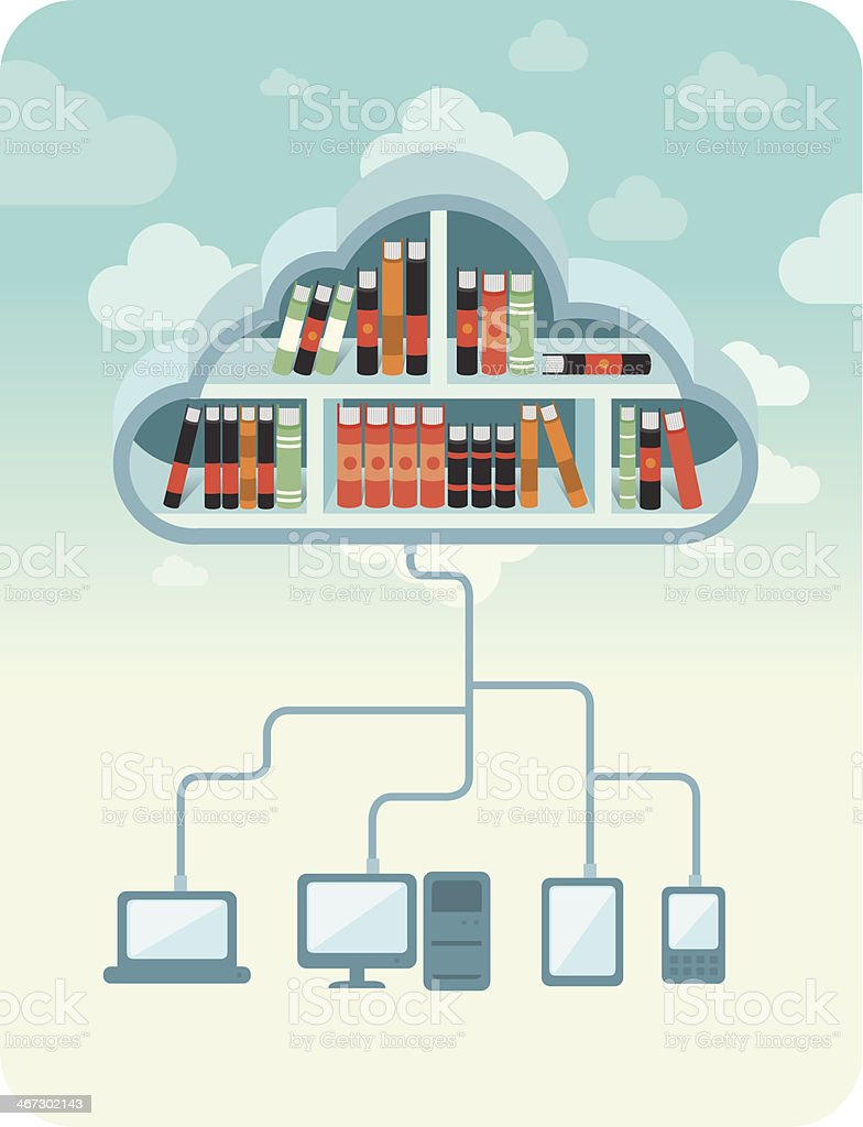 Cloud library vector art illustration