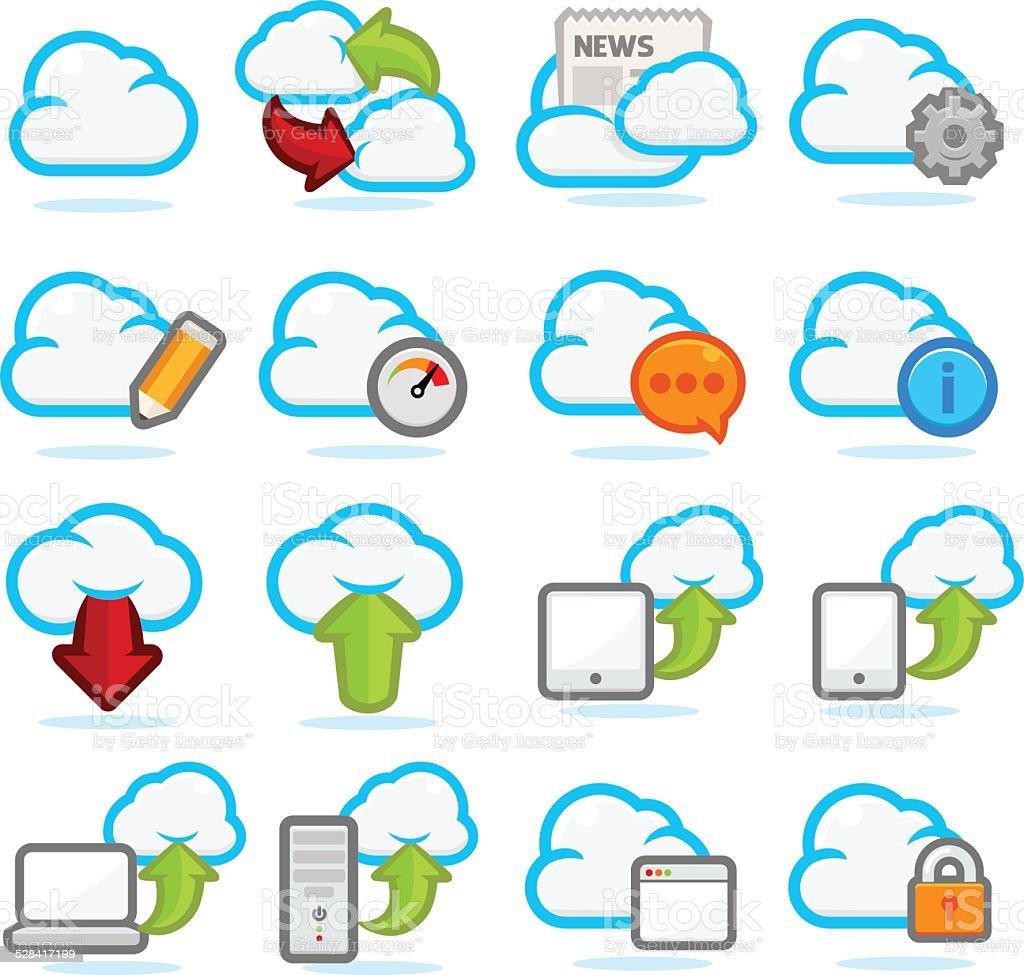 Cloud Network icon set vector art illustration