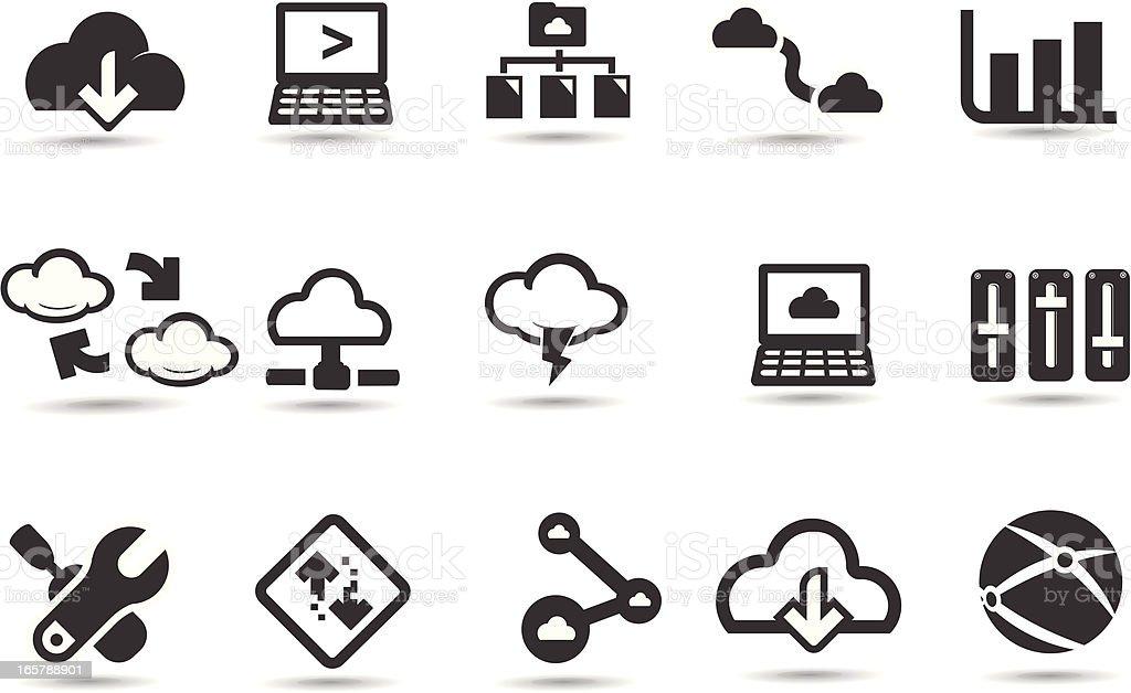 Cloud Network Icons vector art illustration