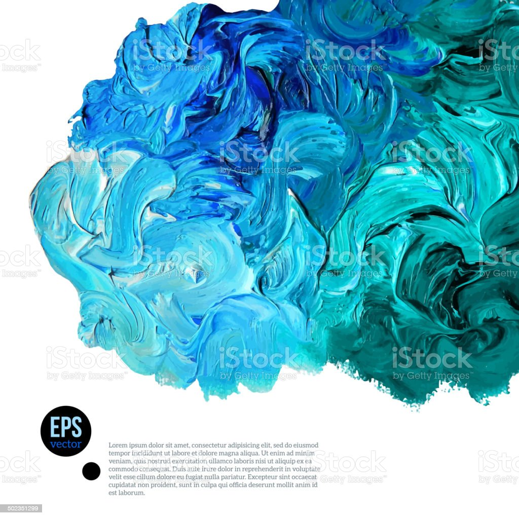 Cloud of blue and green oil paints isolated on white vector art illustration