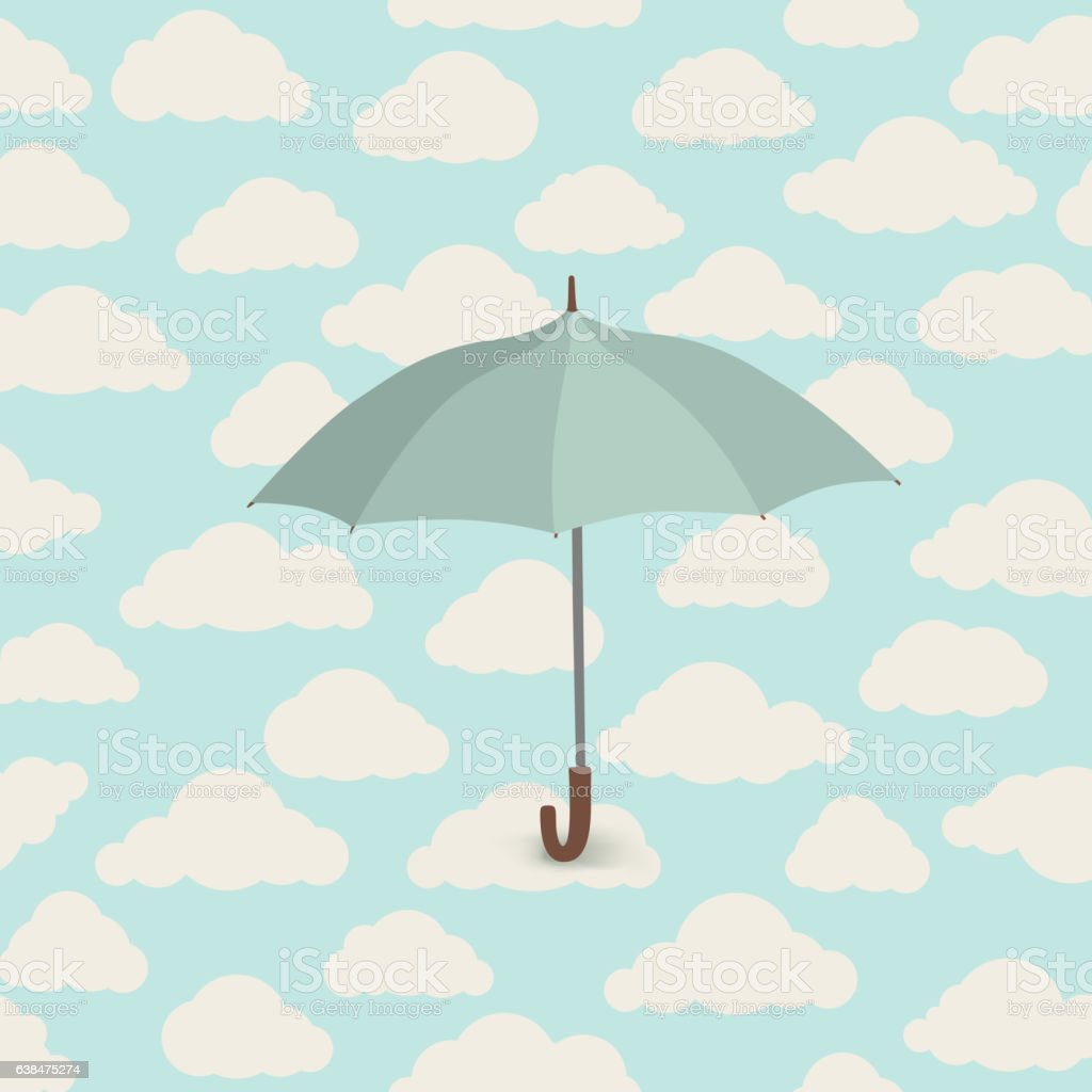 Cloud pattern with umbrella. Rainy weather sky seamless background vector art illustration