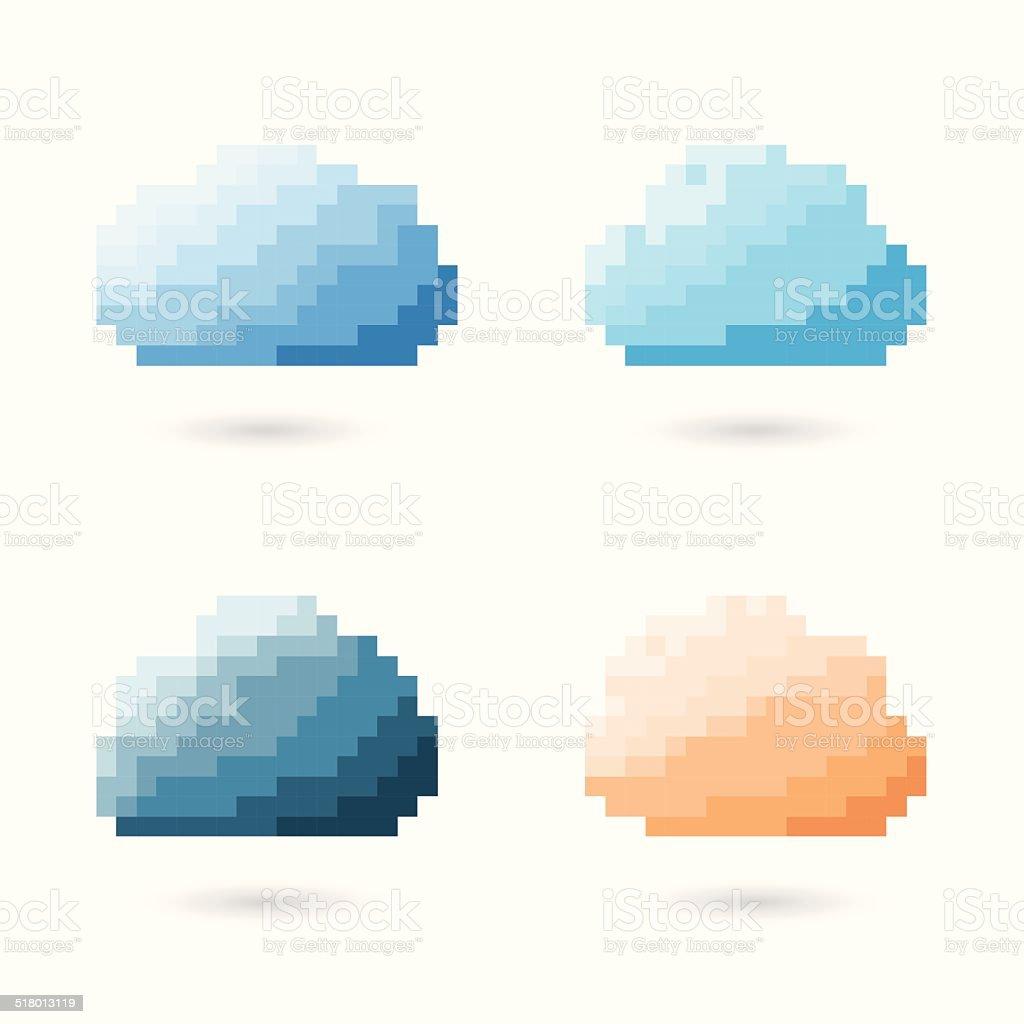 Cloud Pixel Concept. vector art illustration