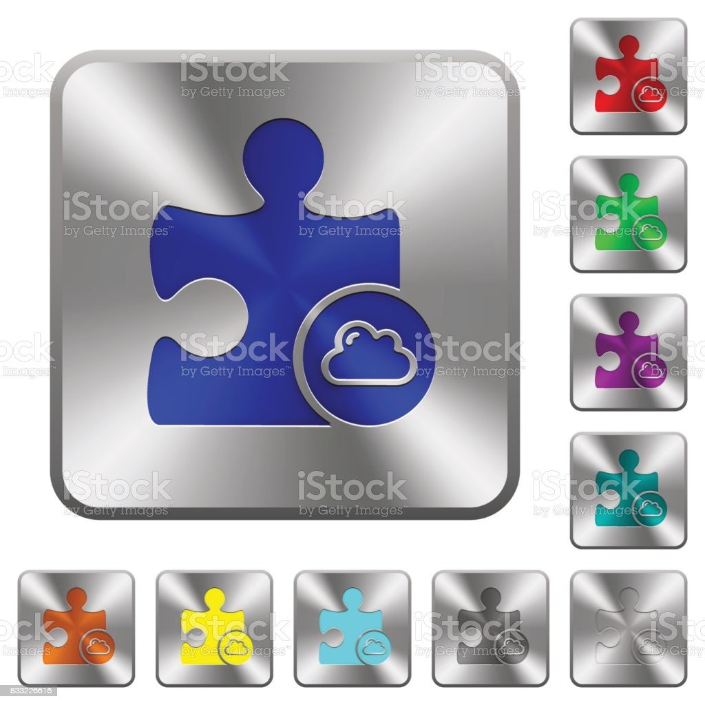 Cloud plugin rounded square steel buttons vector art illustration