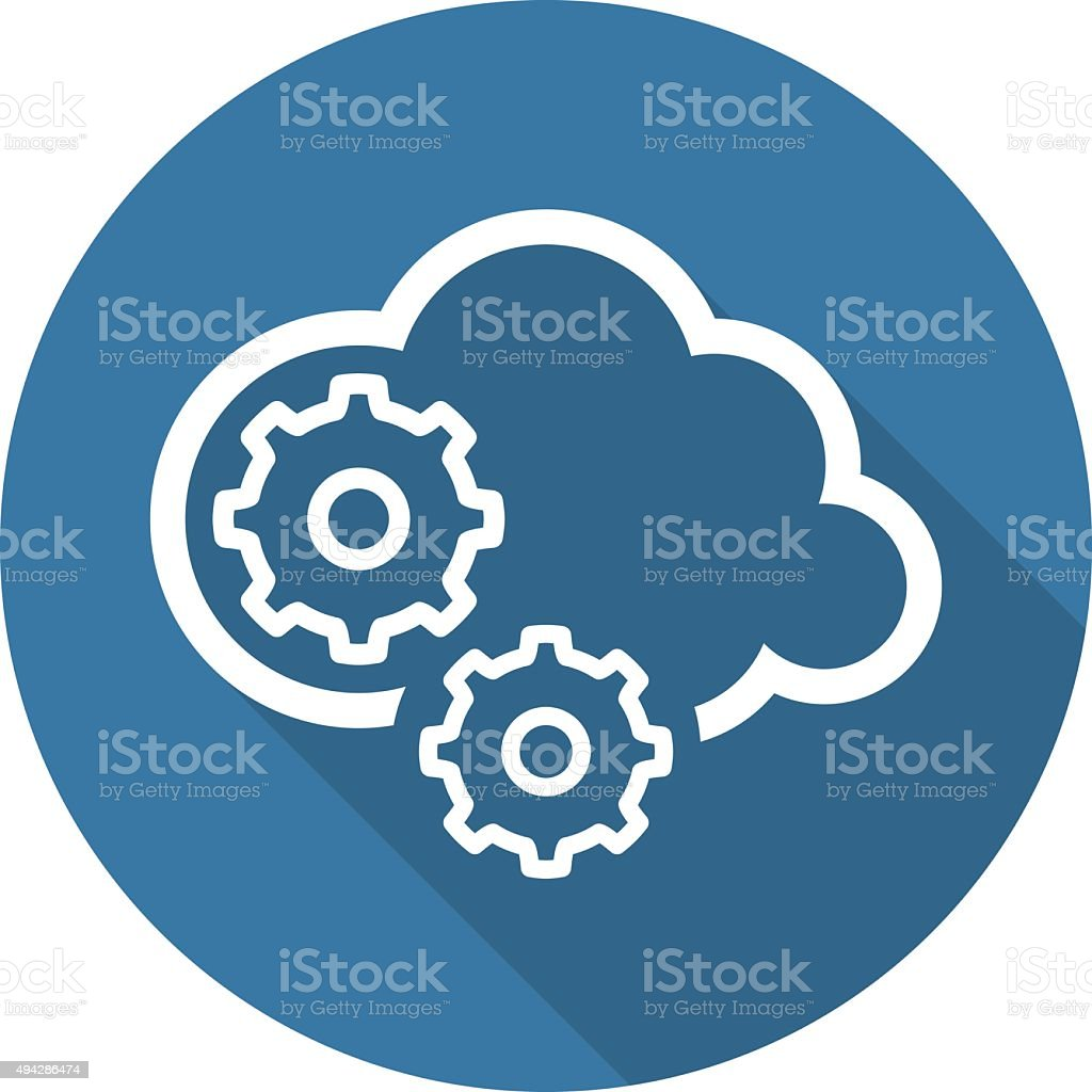 Cloud Processing Icon. Flat Design. vector art illustration