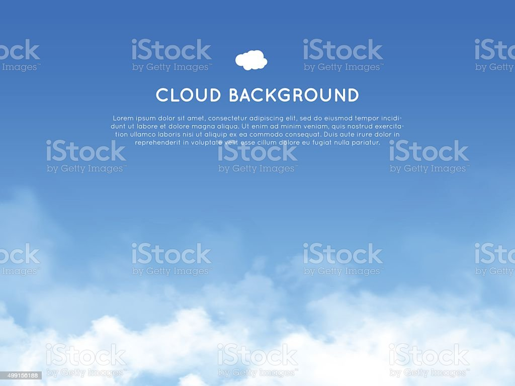 Cloud realistic background vector art illustration