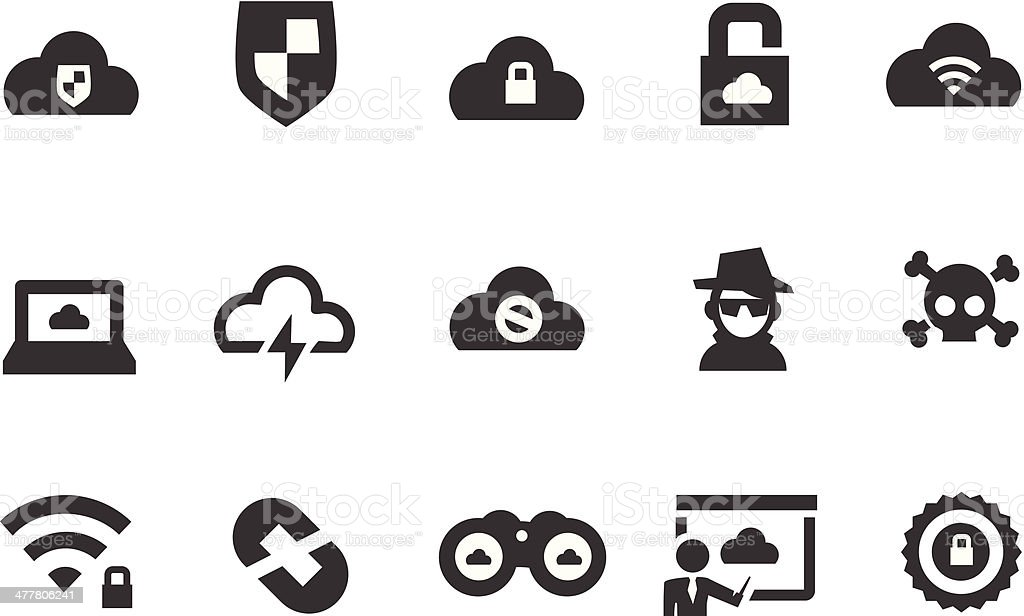 Cloud Security Icons royalty-free stock vector art