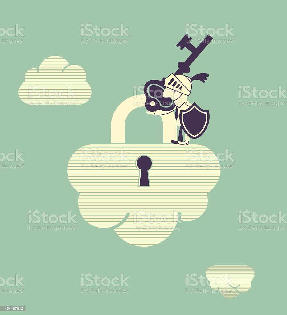 Cloud security, man with armor and key on padlock clouds vector art illustration