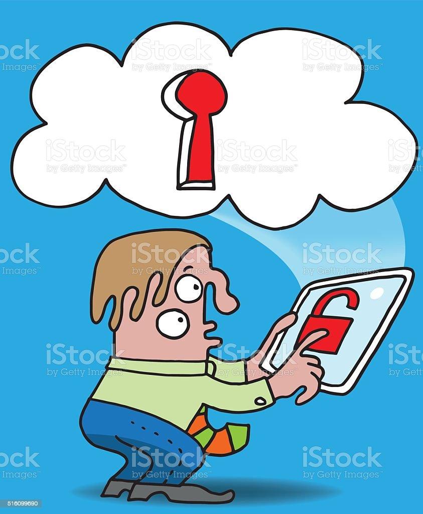 Cloud security vector art illustration