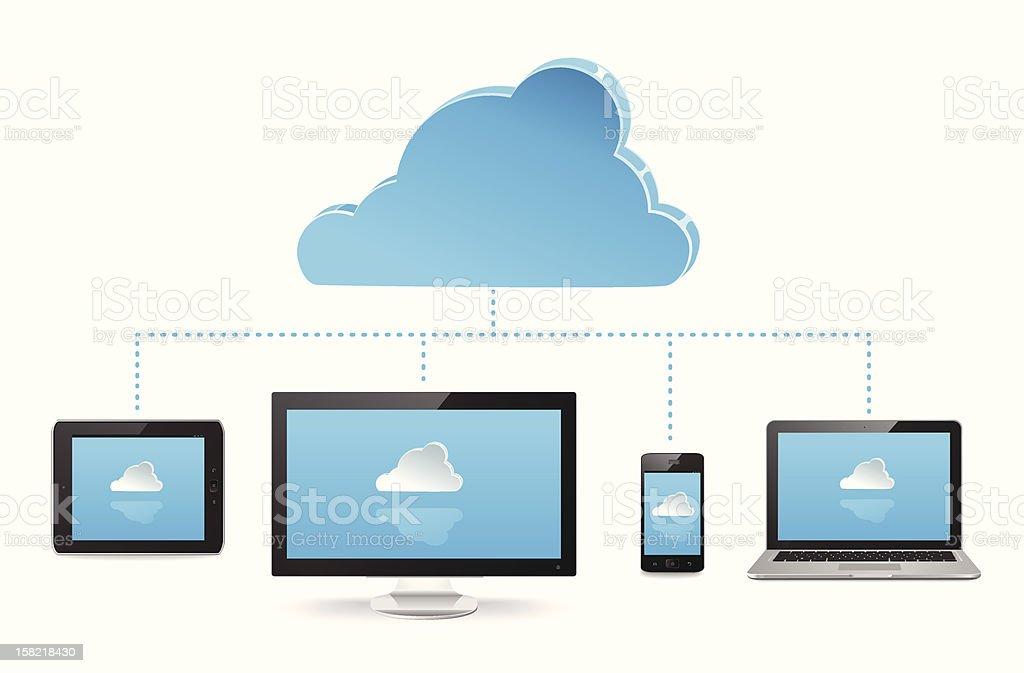 Cloud Server vector art illustration
