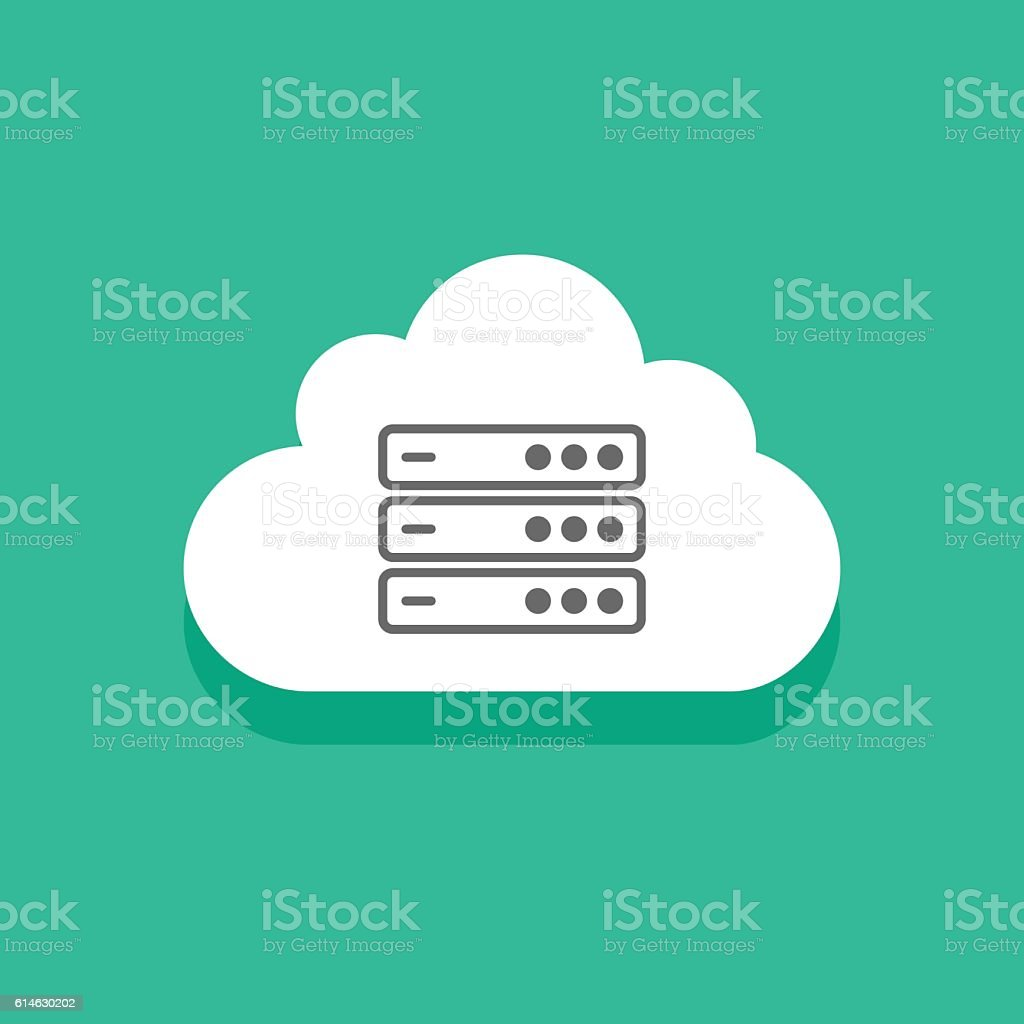 Cloud servers technology icon, concept computing network sign, data center vector art illustration