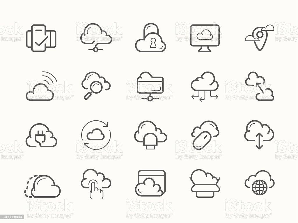 Cloud service server hosting line icons vector art illustration