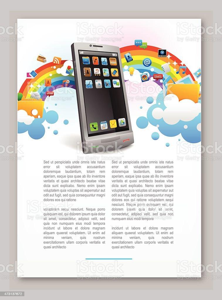 cloud sharing on smartphone. vector art illustration
