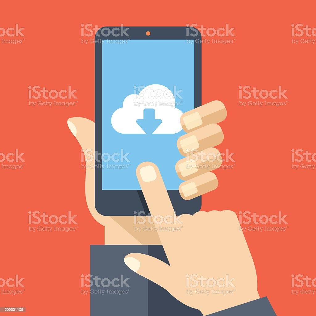 Cloud storage app on smartphone screen. Vector illustration vector art illustration