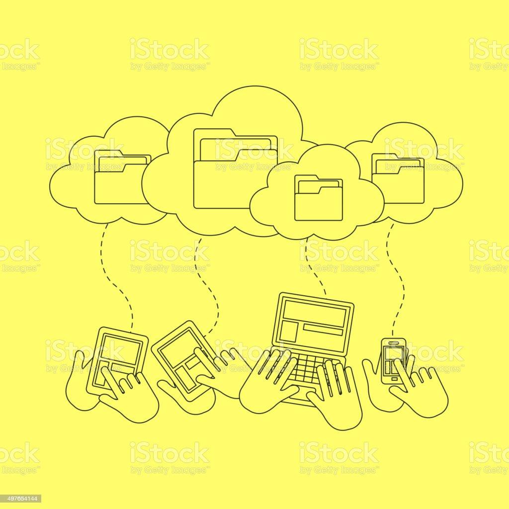 cloud storage concept vector art illustration