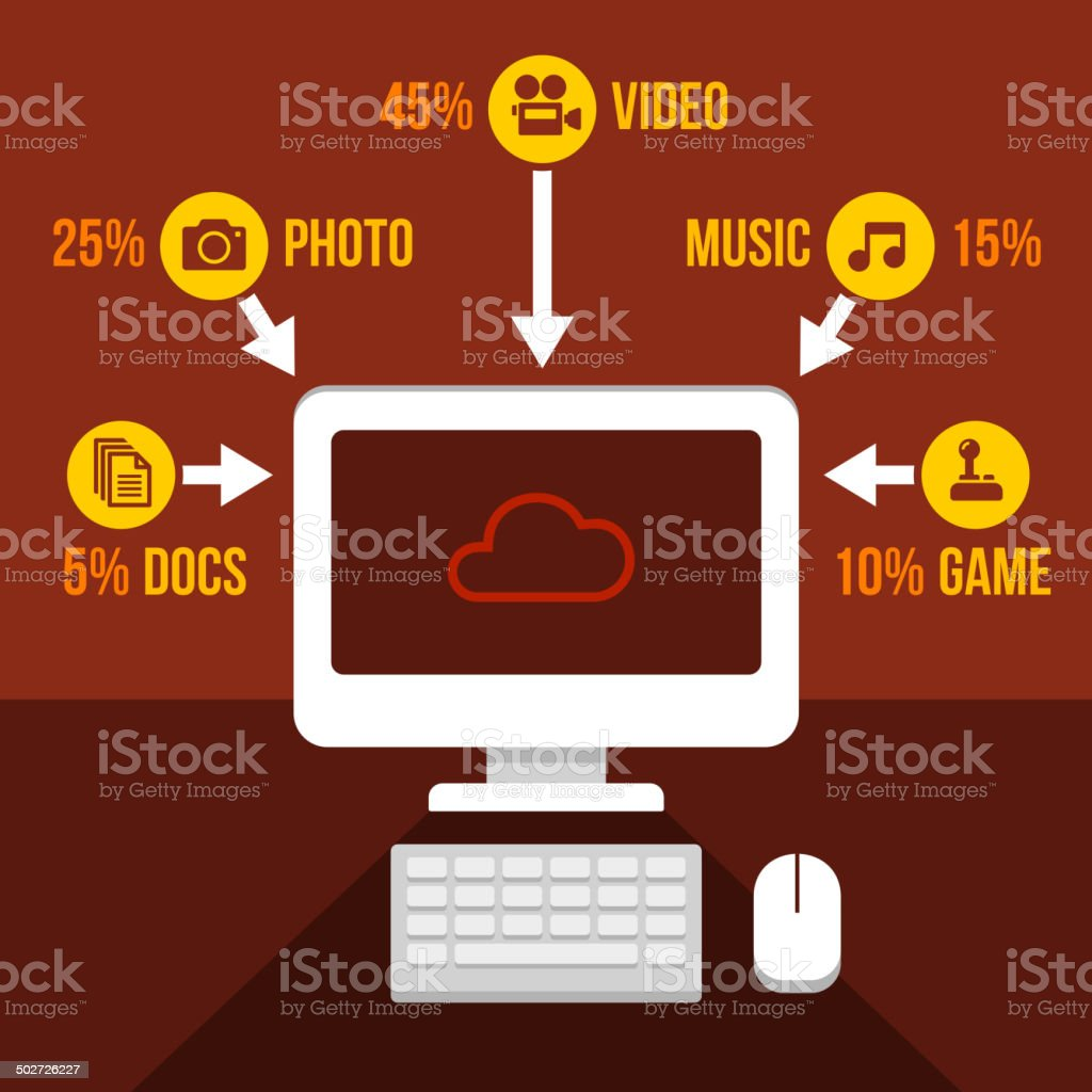 Cloud Storage Infographics Icons Set. Vector royalty-free stock vector art
