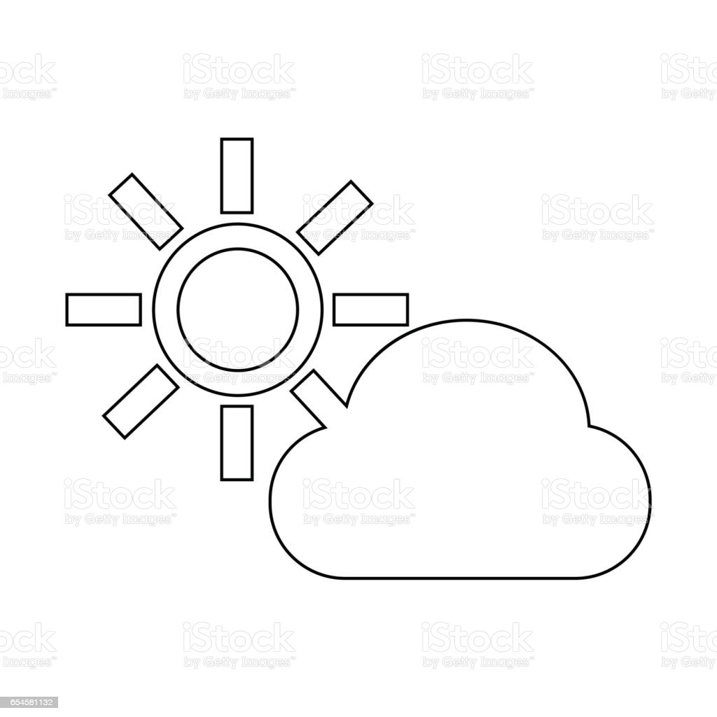 cloud sun icon vector art illustration