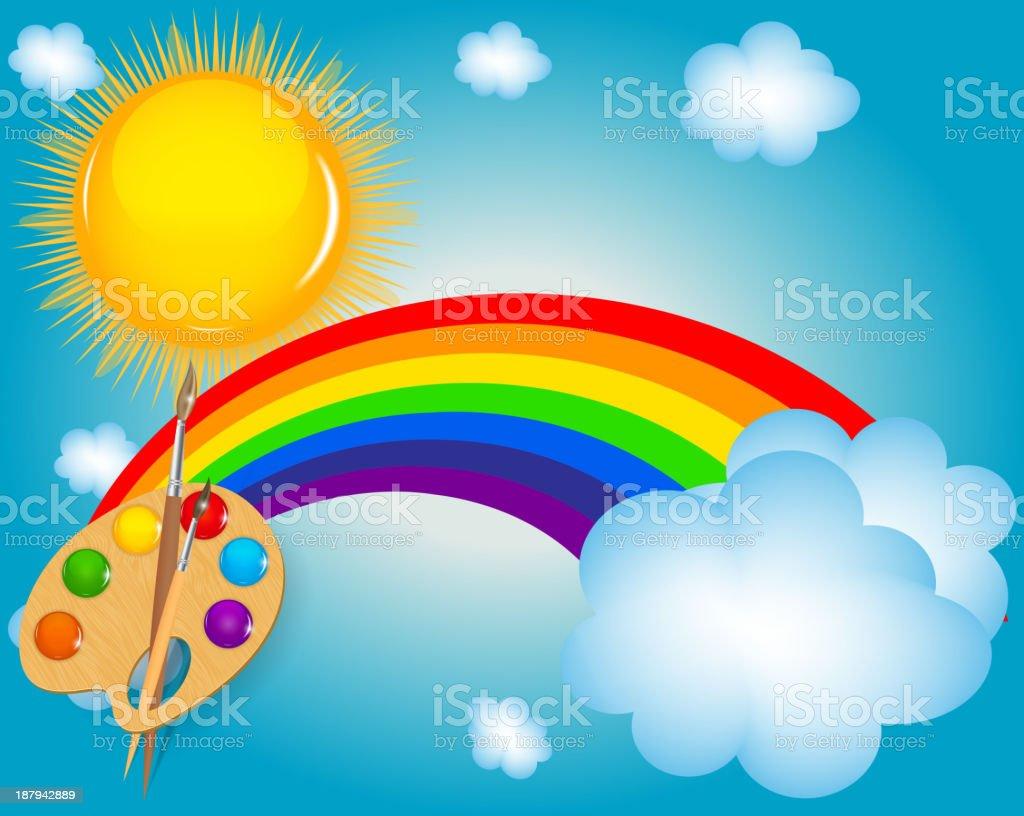 cloud, sun, rainbow vector illustration background royalty-free stock vector art