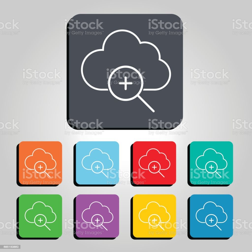 Cloud Technology Magnification Zoom In Icon Vector Illustration vector art illustration