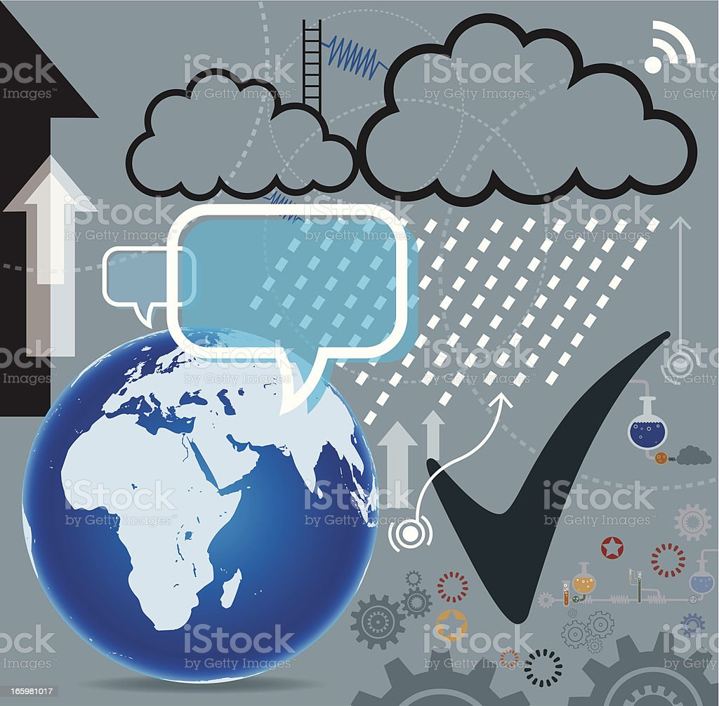 Cloud Technology with Globe royalty-free stock vector art