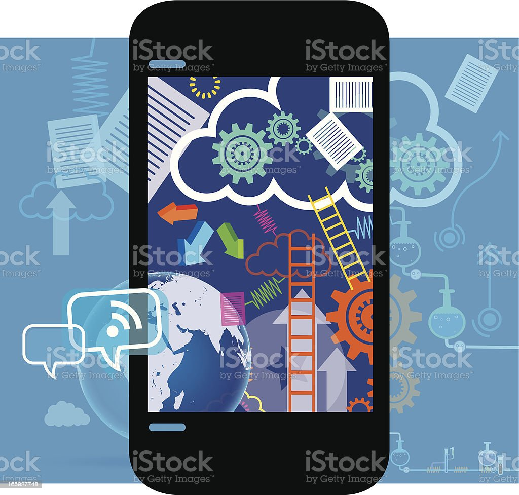 Cloud Technology with Mobility vector art illustration