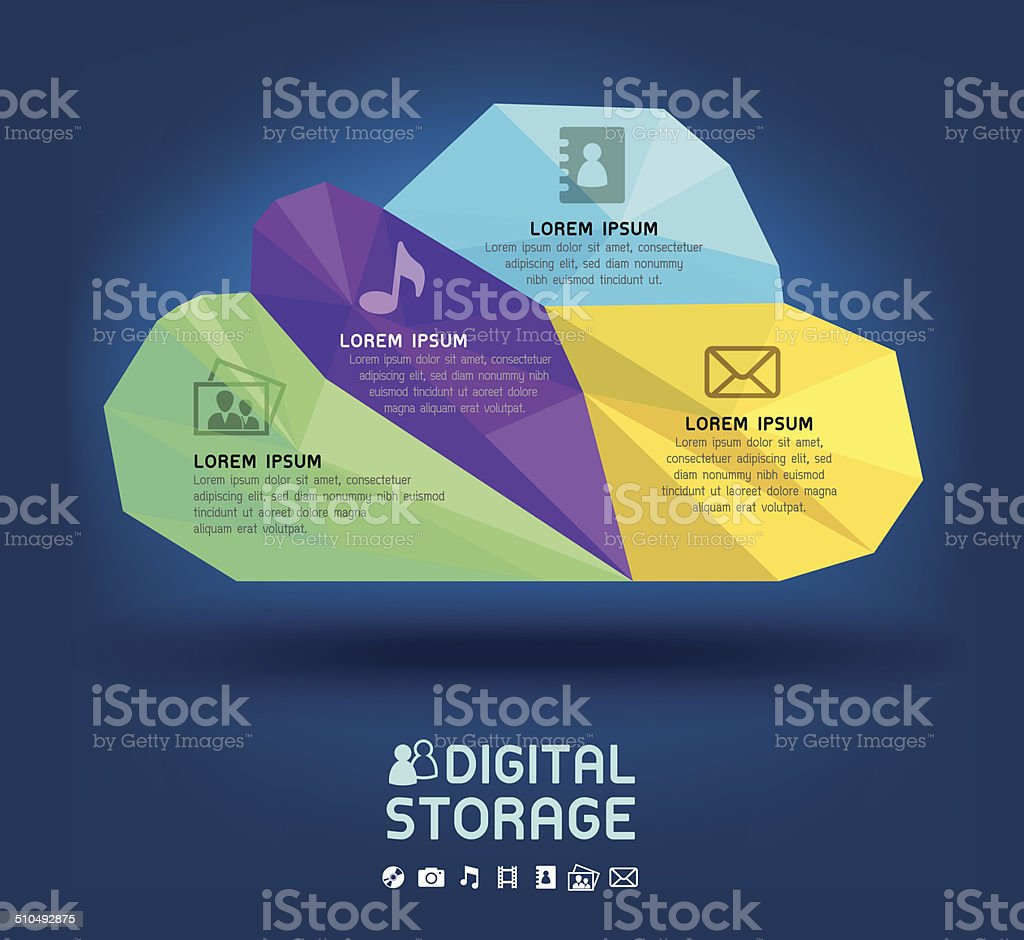 Cloud Virtual Online Storage vector art illustration