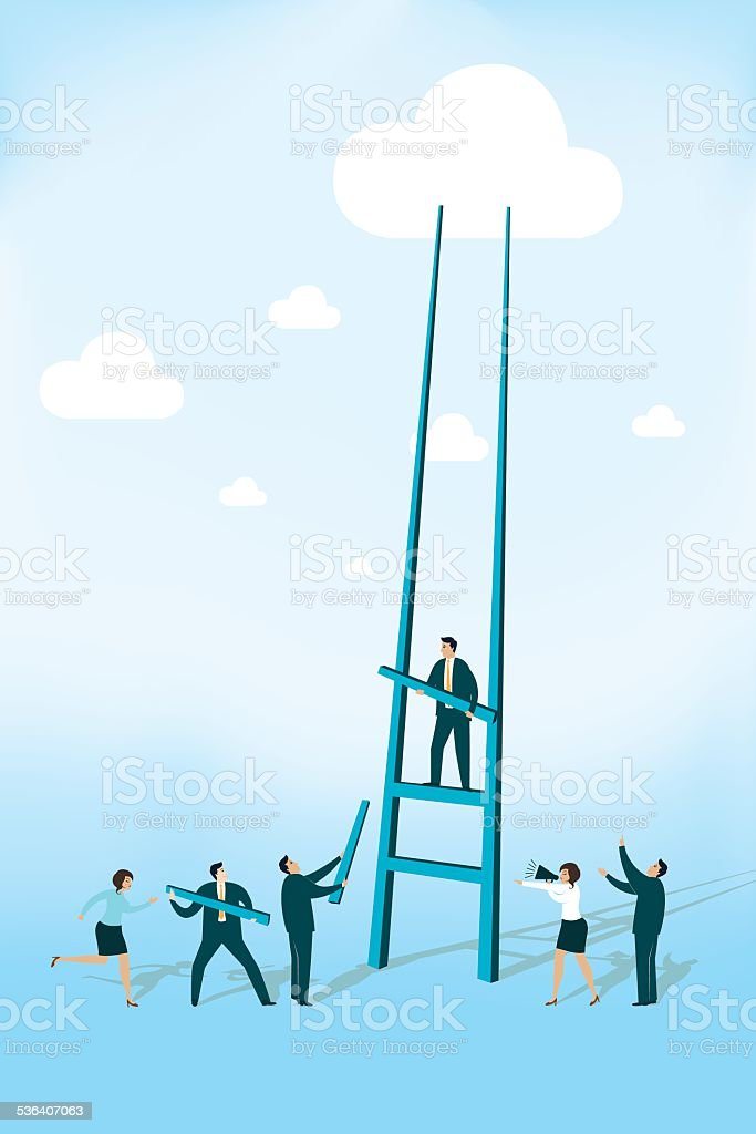 Cloud with Ladder vector art illustration