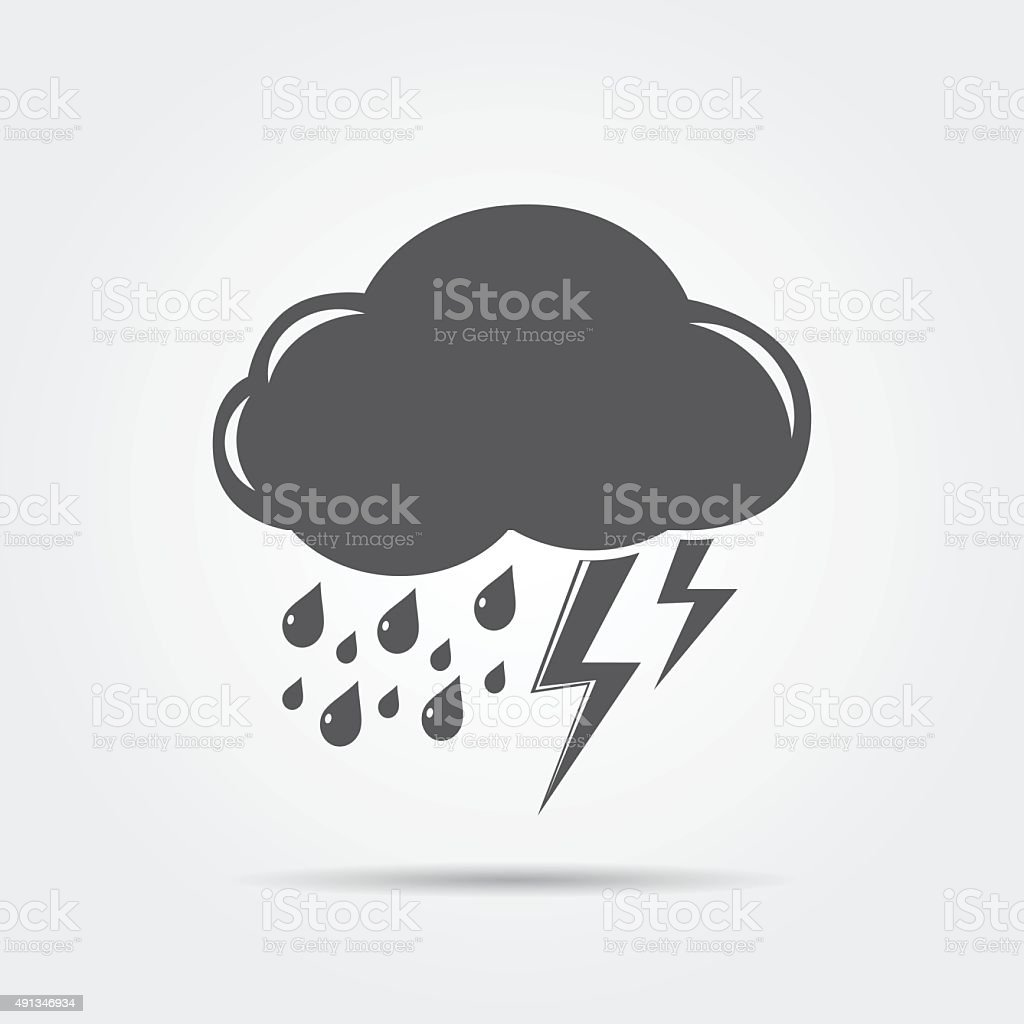 Cloud with lightning and rain vector art illustration
