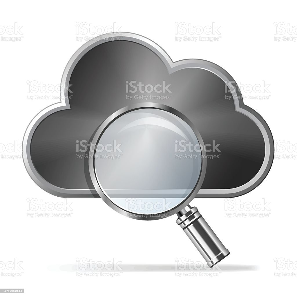 Cloud with Magnifying glass royalty-free stock vector art